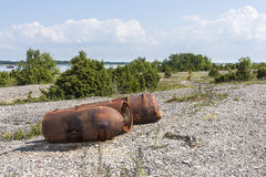Old rusty marine mines Royalty Free Stock Photography