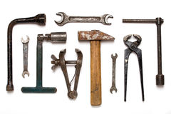 Old rusty mechanic tools Royalty Free Stock Image
