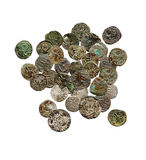 Old rusty medieval european coins Royalty Free Stock Photography