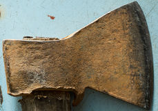 Old rusty metal axe Stock Photo