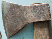 Old rusty metal axe Stock Images