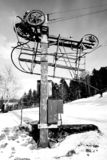 Old teleski / ski-lift in the Vosges mountains East of France royalty free stock photo