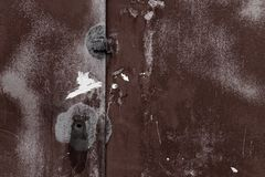 Old rusty metal garage wall. royalty free stock photography