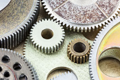 Old rusty metal gears and other details of machines Stock Photo