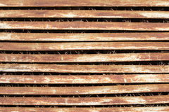 Old rusty metal lattice. Grown with a grass. Close-up Stock Photography