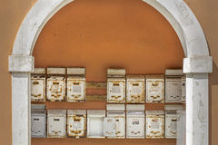 Old rusty metal mailboxes. Seen in Greece Royalty Free Stock Images