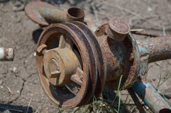 Old rusty metal pulley Royalty Free Stock Photography