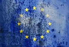 Old rusty metal texture depicting the flag of the European Union Stock Image