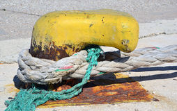 Old rusty metal to anchor vessel in harbor Stock Photography