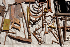 Old rusty metal tools on a flea market Royalty Free Stock Photography