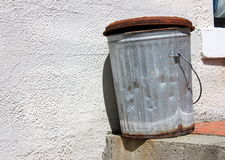 Old rusty metal trash can Royalty Free Stock Photography