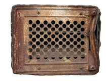 Old rusty metal ventilation grate isolated on white.  royalty free stock photography