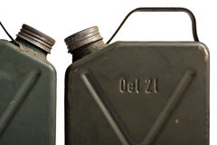 Old and rusty military gasoline canisters Stock Photography