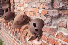 Old rusty military helmets Royalty Free Stock Photos