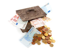 Old rusty money box with Euros Stock Image