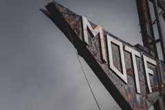 Old rusty motel sign stock photo