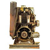 Old rusty motor engine isolated on white Stock Photo