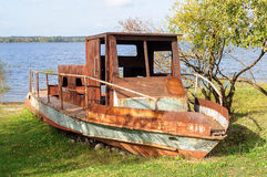 Old rusty motorboat Stock Photos