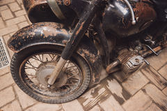 Old rusty motorcycle. Wheel of a motorbike. Revive the classics Royalty Free Stock Photography