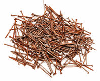 Old rusty nails. On white background Stock Image