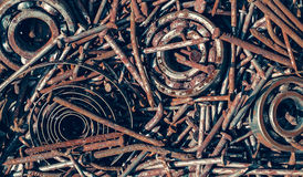 Old rusty nails and bearings. Closeup view Royalty Free Stock Photography
