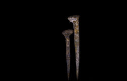 Old rusty nails on black background. Old large rusty nails on black background Royalty Free Stock Image