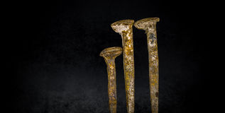 Old rusty nails on black background. Old large rusty nails on black background Royalty Free Stock Images