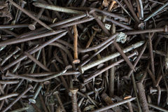 The old rusty nails close-up. Stock Photos
