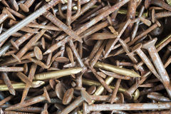 Old rusty nails. Detail of the old rusty nails Stock Images