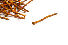 Old rusty nails isolated. On white background Royalty Free Stock Photography