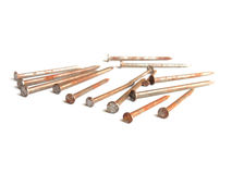 Old rusty nails / isolated white. / object tool Royalty Free Stock Image