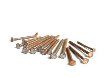 Old rusty nails / isolated white. / tools Stock Photos