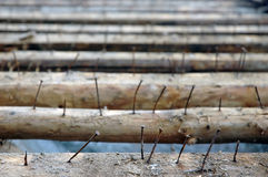 Old rusty nails. In purlin on roof Stock Photos