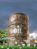Old rusty oil barrel Stock Images