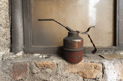 Old rusty oil can Royalty Free Stock Photo