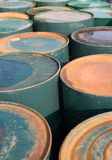 Old rusty oil drums. Old rusty green oil drums Stock Image