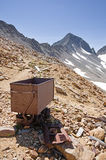 Old Rusty Ore Cart. By Colorado mountain mine stock image