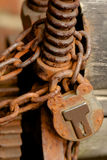 Old rusty padlock. With chain royalty free stock images