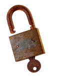 Old rusty padlock and key over white background.. Stock Photo