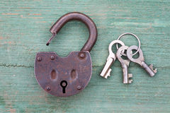 Old rusty padlock and key Stock Images