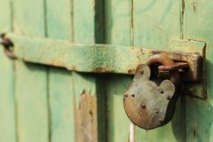 Old rusty padlock safety Stock Photo
