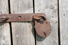 Old rusty padlock. On a wooden door royalty free stock images