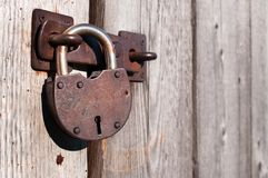 Old and rusty padlock. Royalty Free Stock Photo