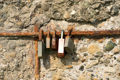 Old Rusty Padlocks - Love Symbol. Five old rusty padlocks, symbols of love. Cinque Terre, via dell'Amore (the way of love), Liguria, Italy Stock Photos