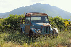 Old, Rusty Pickup Truck Abandoned on Roadside stock images