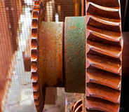 Old and rusty pinion gear of the machine Stock Photos