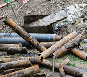 Old rusty pipe rotten. Old rusty rotten pipes, background Stock Photography