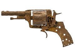 Old rusty pistol, Isolated on white background Stock Image