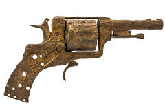 Old rusty pistol, Isolated on white background Royalty Free Stock Photo