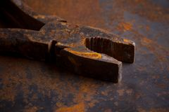 Old rusty pliers tools Stock Photos